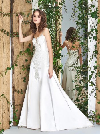 A-line wedding dress with a bustier-style corset and lace embroidery