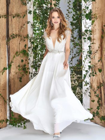 Sheat style wedding dress with beaded top and flowy chiffon skirt