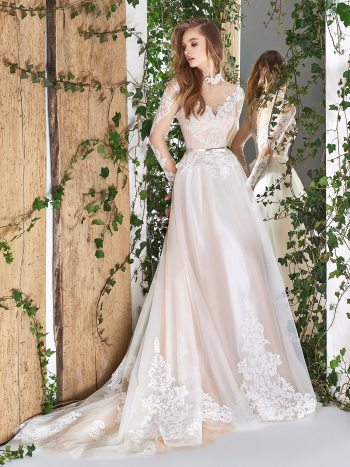 High collar ball gown with long illusion lace sleeves