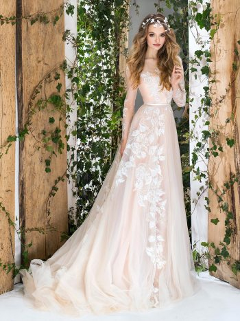 Long sleeve A-line wedding dress with floral lace embroidery