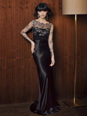 evening dress with long sleeves