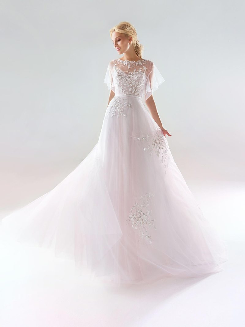 Cape sleeved A-line wedding dress with embellishments and illusion neckline