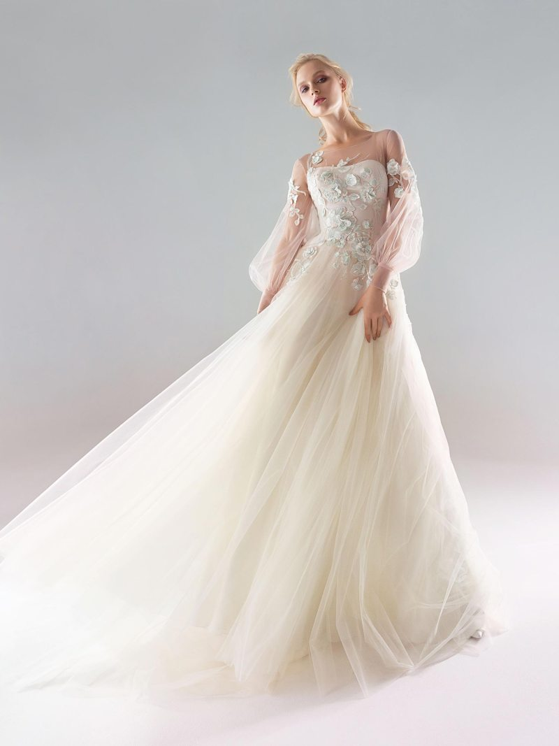 A-line wedding dress with deep v bodice and ruffled sleeves