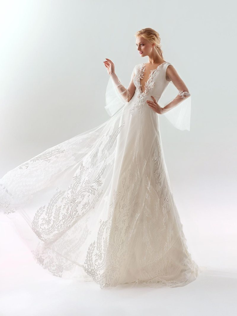 Bell sleeved A-line wedding dress with plunging illusion neckline