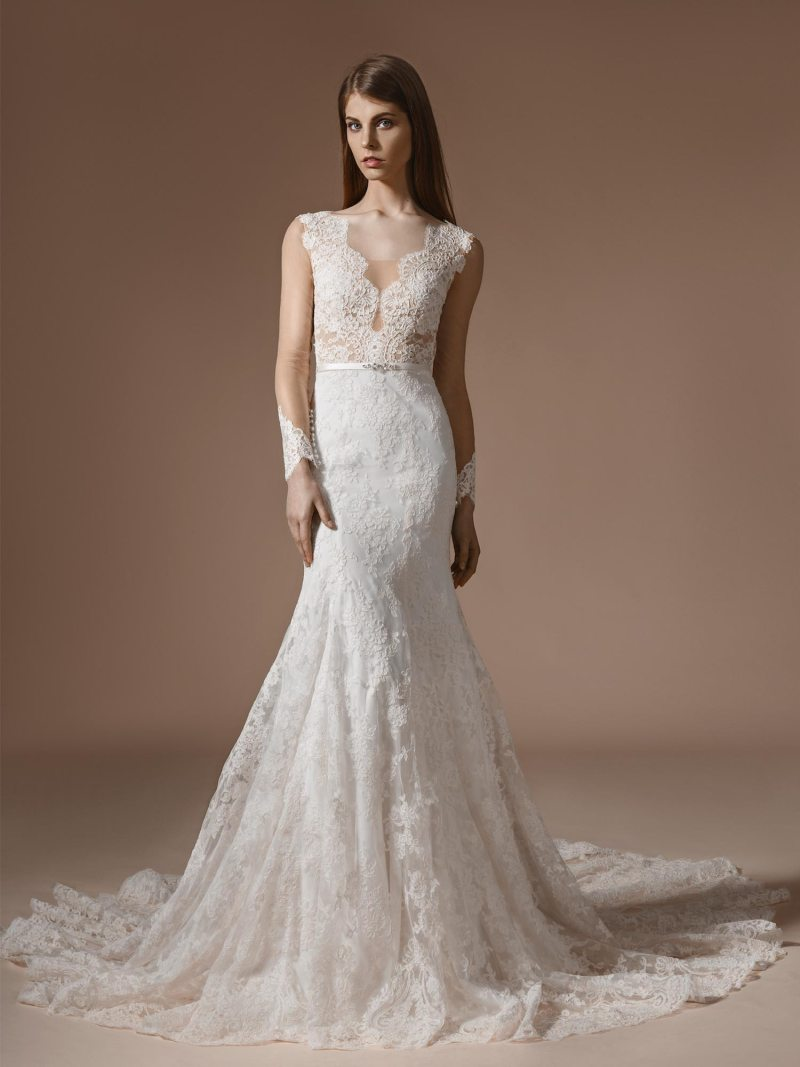 Fit and flare wedding dress with illusion long sleeves