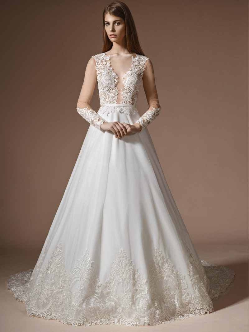 A-line wedding dress with lace bodice and deep v neckline