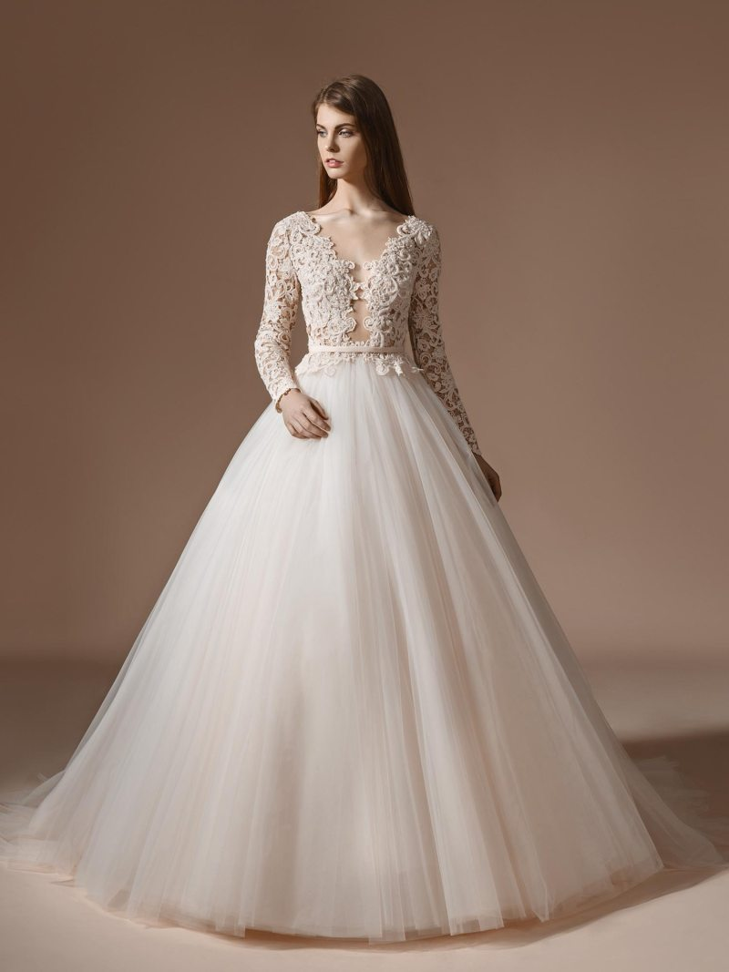Long sleeved lace bodice ball gown wedding dress