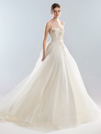 Ball gown wedding dress with thin straps