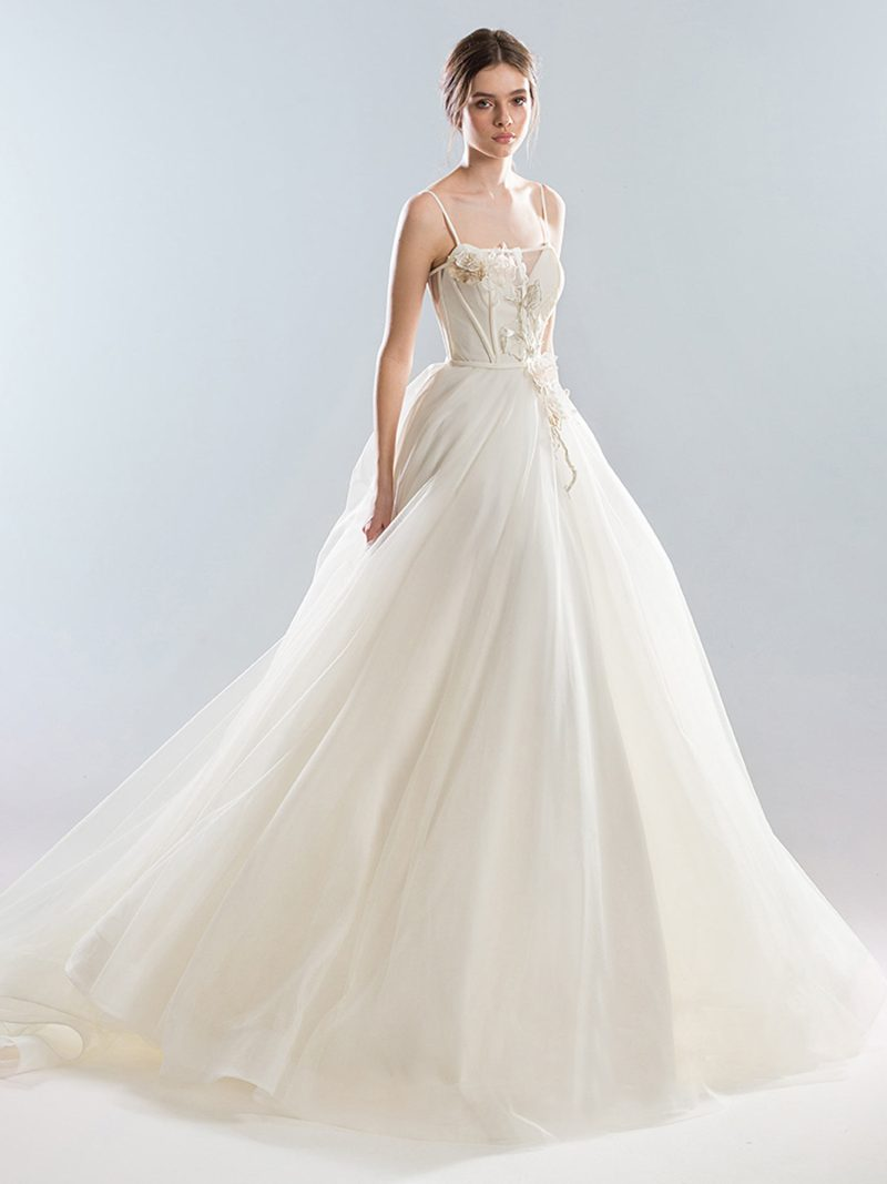 Ball gown wedding dress with thin straps and sweetheart bodice