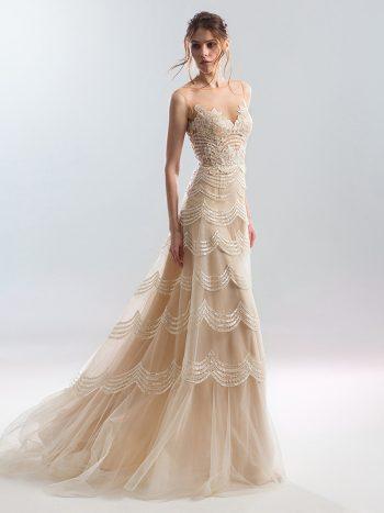 Sheath wedding dress with illusion neckline