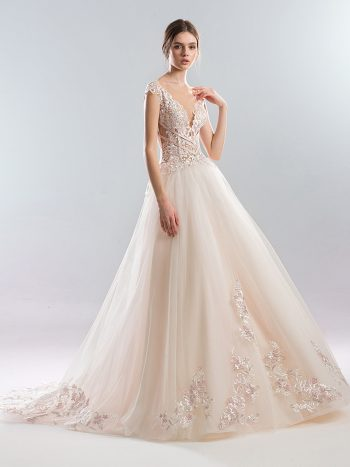 Ball gown wedding dress with embroidered bodice