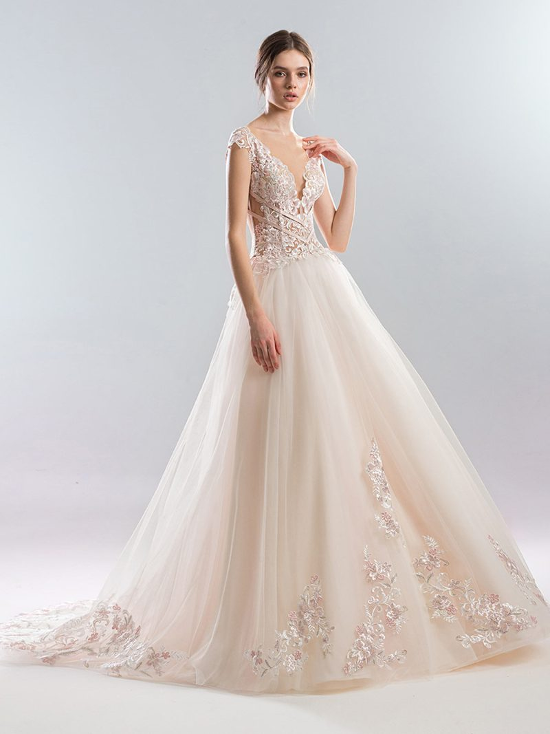 Ball gown wedding dress with embroidered bodice and cap sleeves