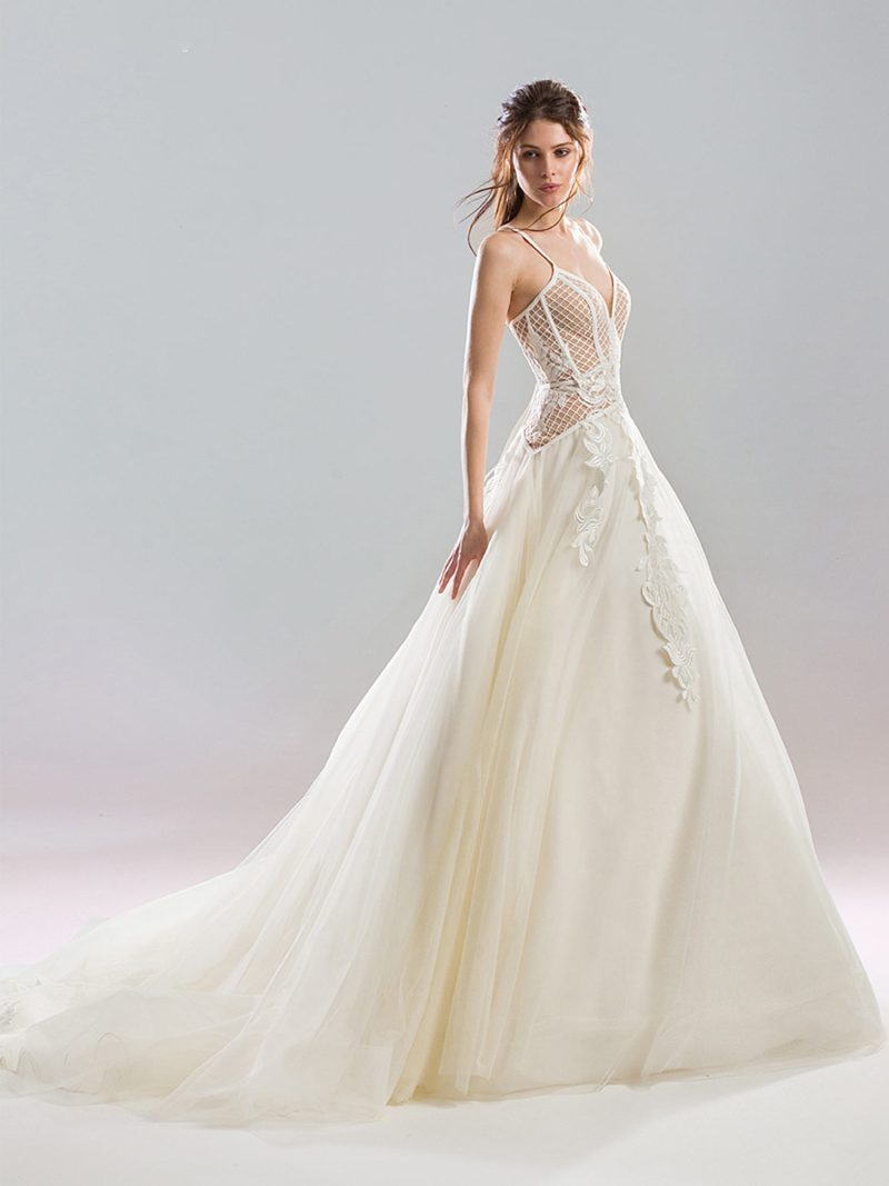 A-line wedding gown with dropped waist and sheer netted bodice