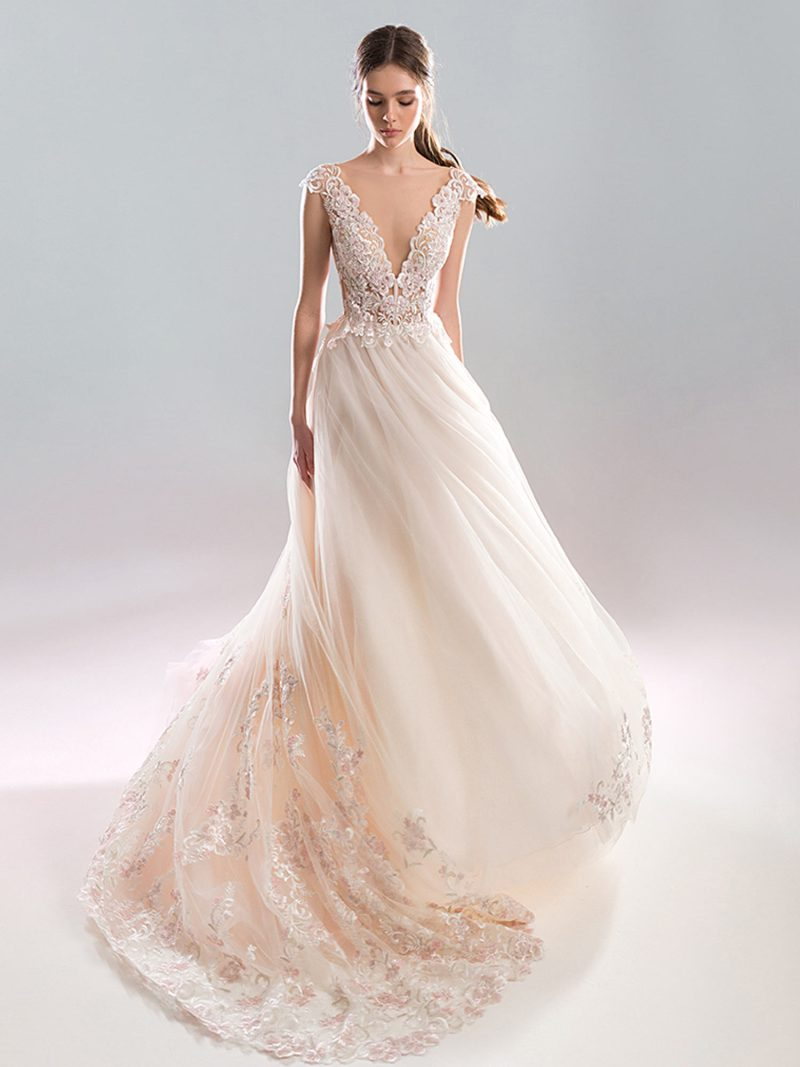 Deep v neck metallic lace bodice A-line wedding dress with long train
