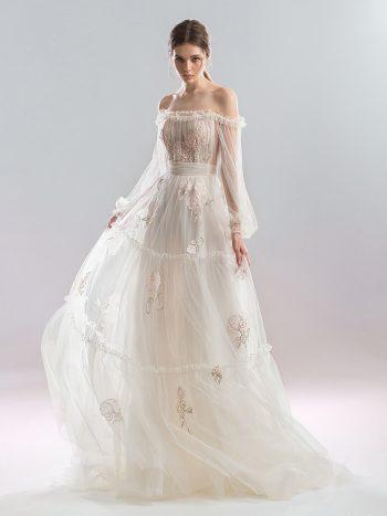 Off the shoulder A-line wedding dress