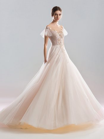 Cap sleeved ball gown wedding dress