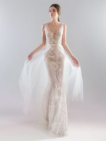 Fitted sheer lace wedding gown