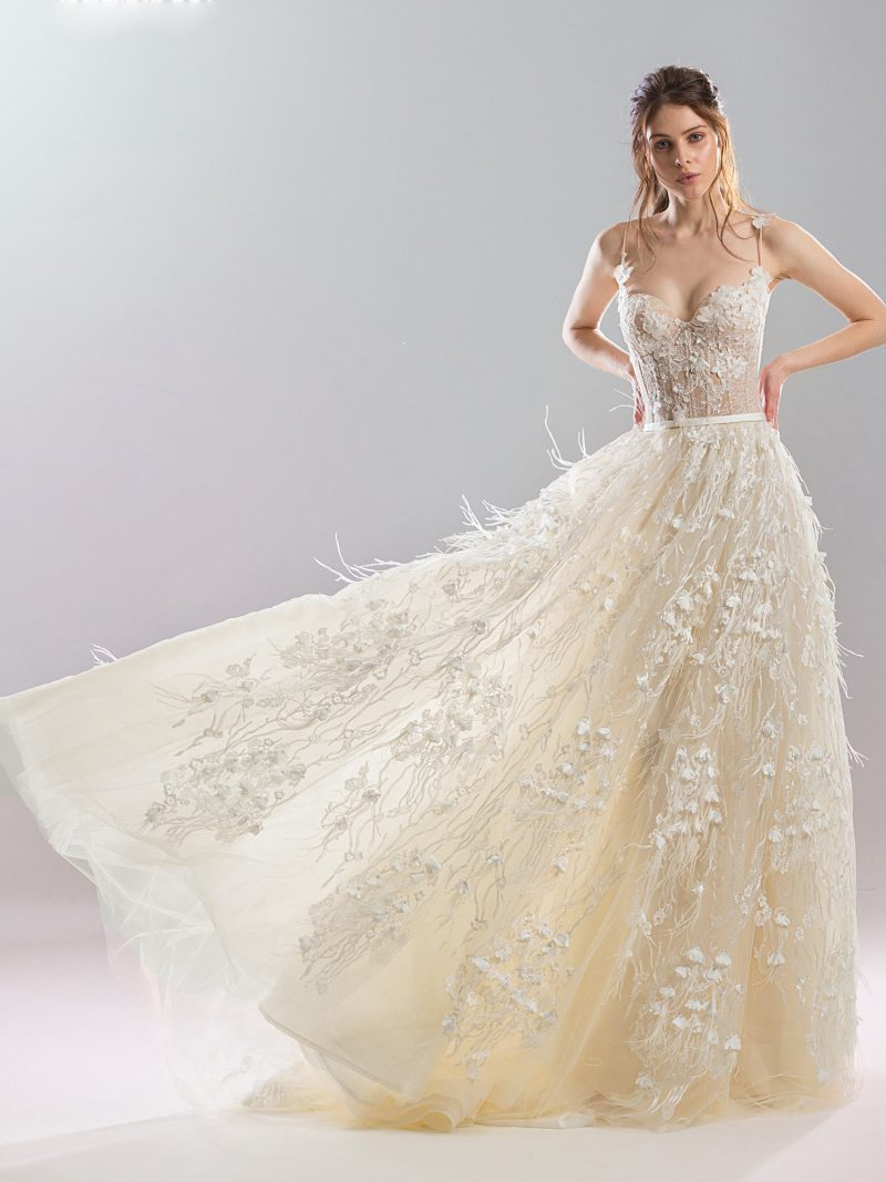 Bustier style ball gown wedding dress with feather and floral embroidery