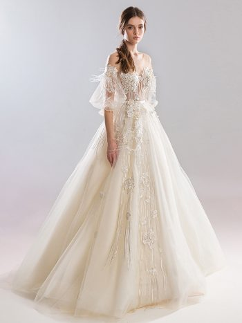 Ball gown wedding dress with bishop sleeves