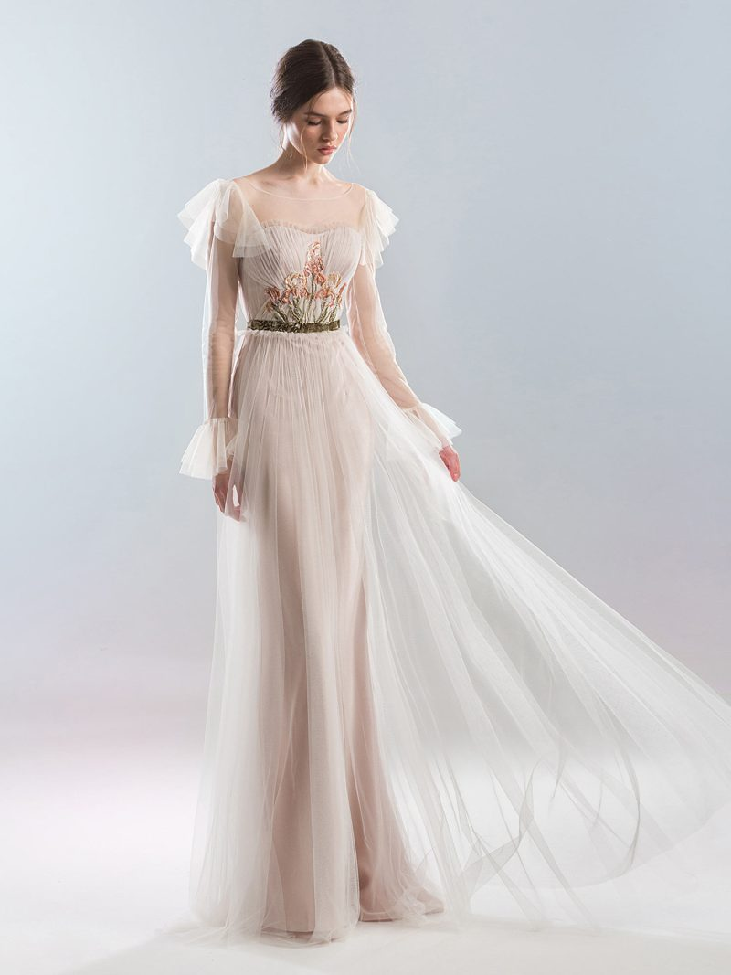 Floor length A-line wedding dress with long sleeves and sheer overlay