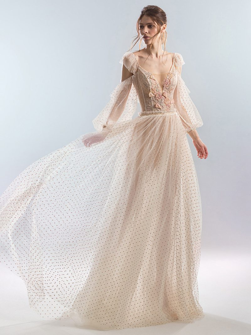 A-line wedding dress with cold shoulder sleeves and polka dot lace
