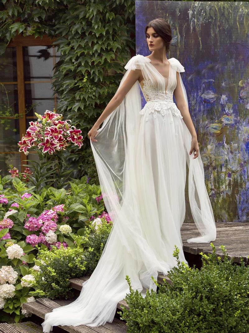 Cape sleeved A-line wedding dress with plunging neckline and V back