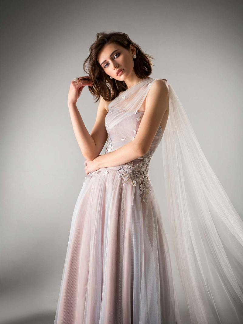 A-line evening dress with one shoulder