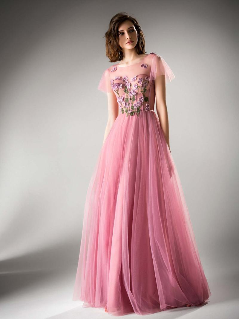 Cap sleeved evening gown with floral details
