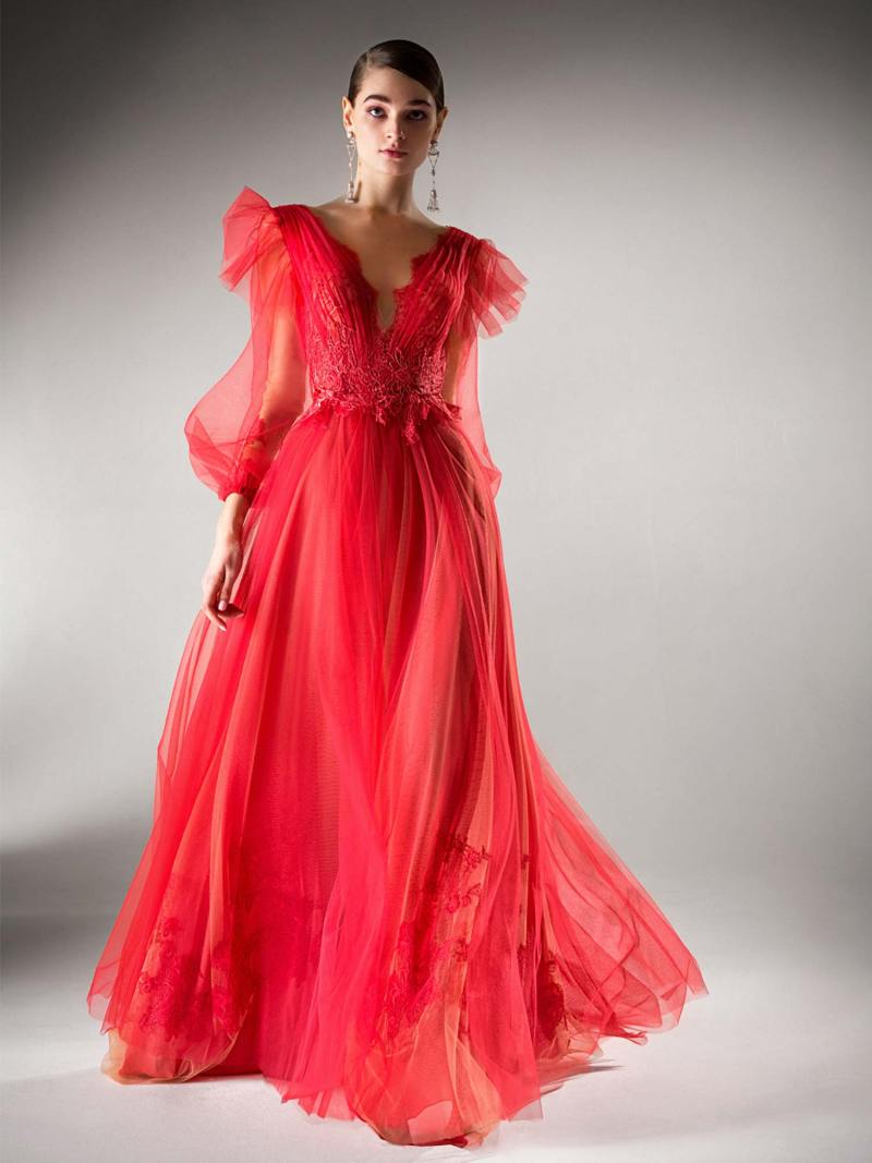 A-line evening dress with bishop sleeves