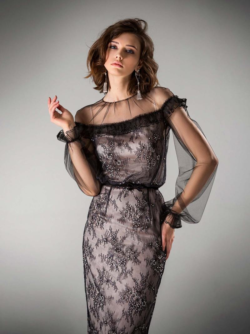Tea length lace evening dress with bishop sleeves