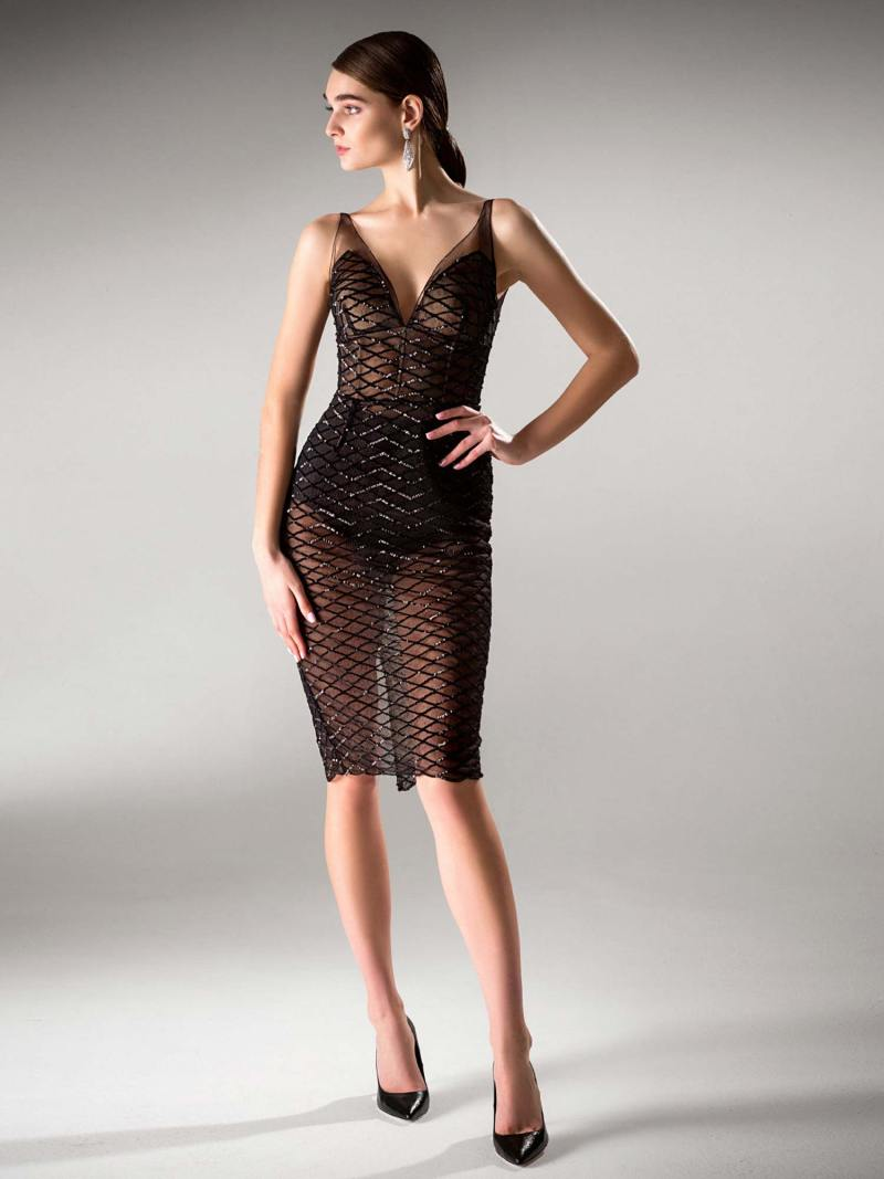 Sequined cocktail dress with skirt overlay