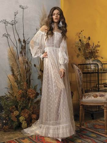 wedding dress with bishop sleeves