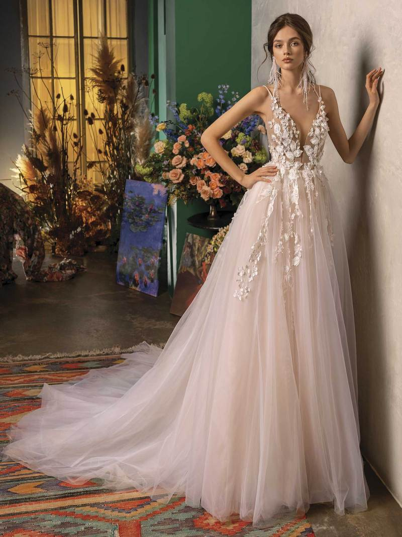 A-line wedding dress with plunging neckline