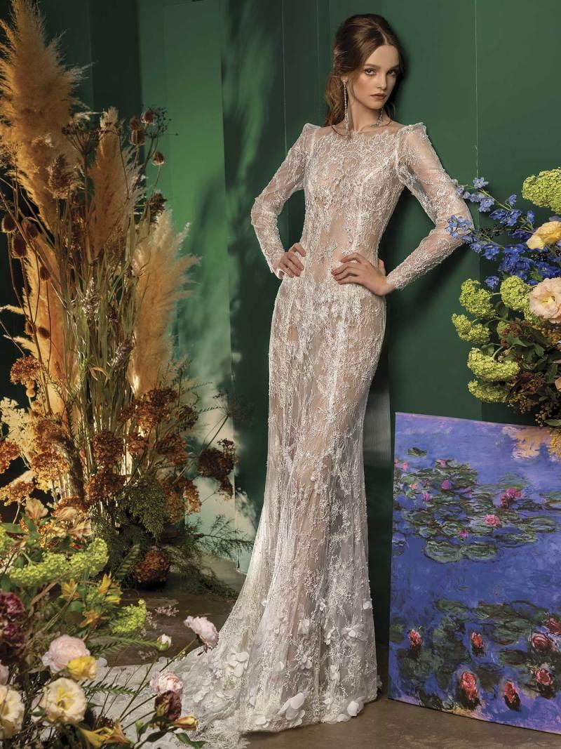 Mermaid wedding dress with long sleeves