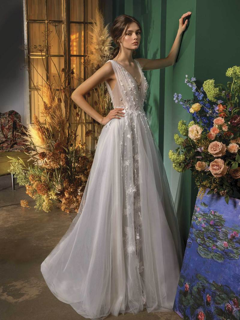 A-line wedding dress with deep V neckline