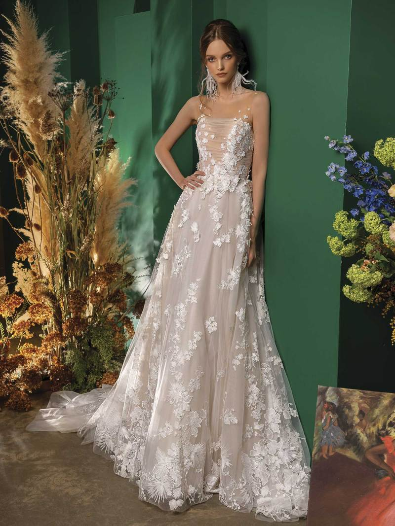 A-line wedding dress with floral applique and ruched bodice