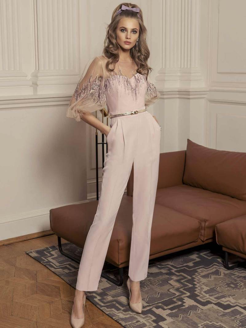 Jumpsuit with bishop sleeves and zig zag embroidery