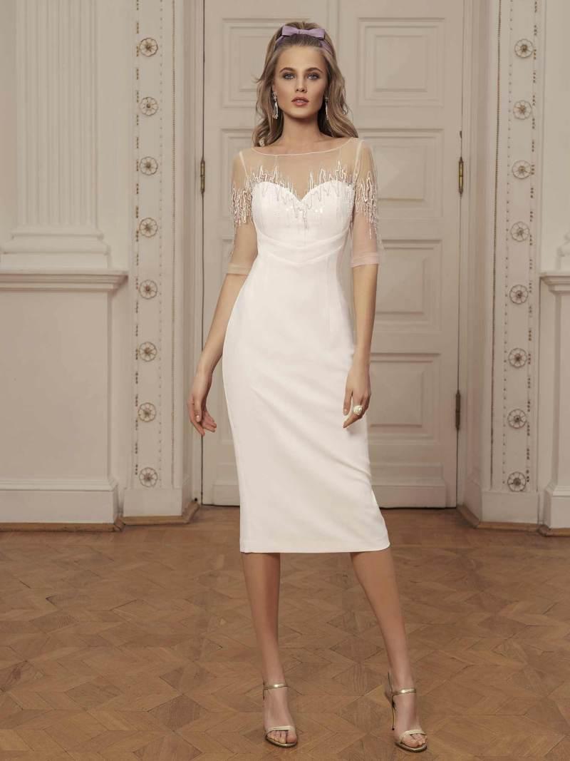 Sheath midi dress with zig zag embroidery and sweetheart bodice