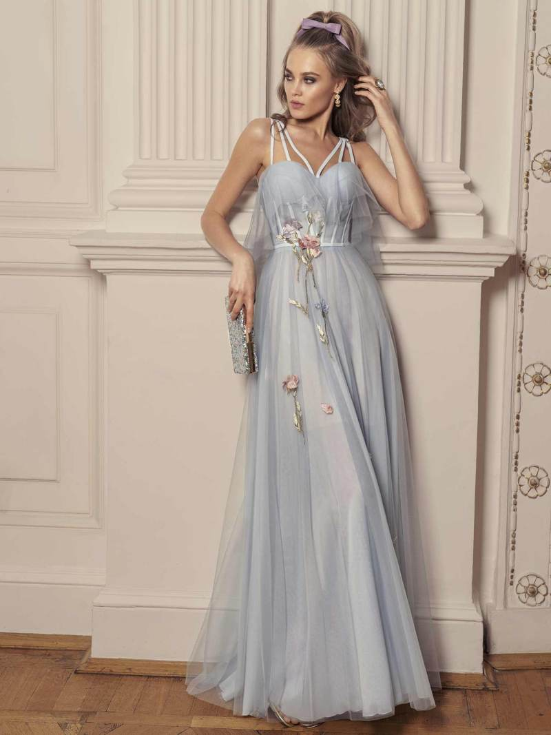 Maxi dress with bustier bodice and floral embroidery