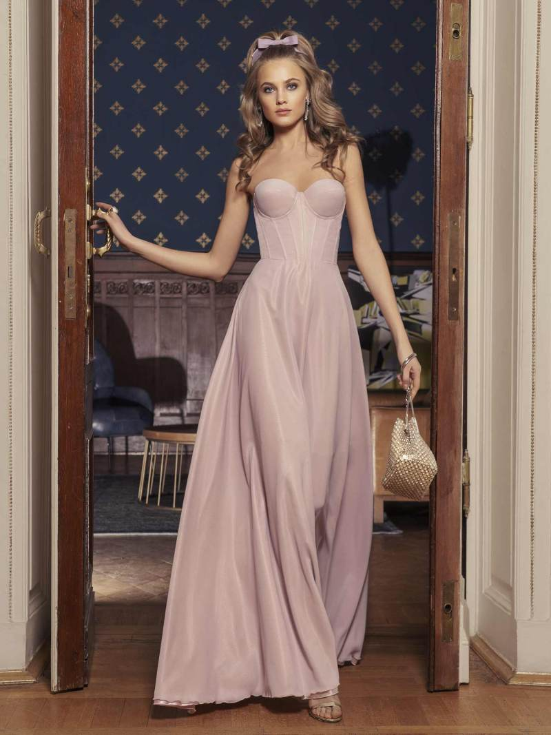 Monochomatic strapless maxi dress with bustier bodice