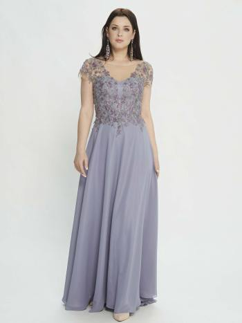 evening gown with plunging neckline