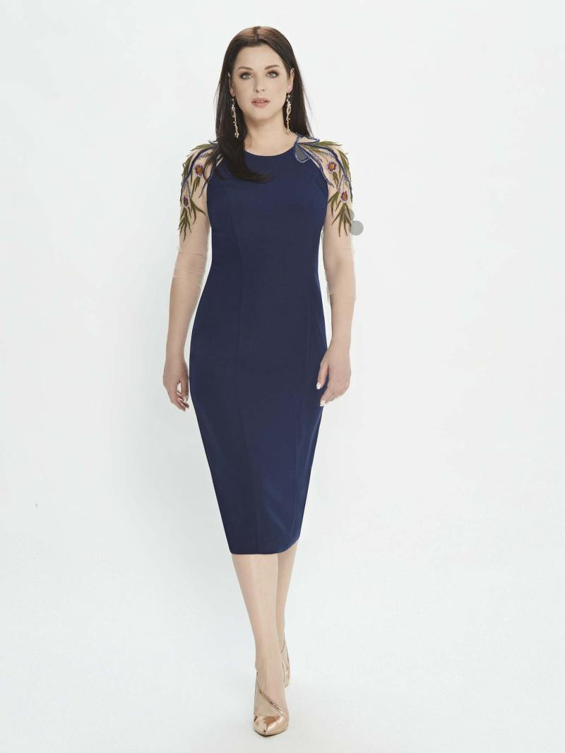 Sheath dress with high neckline and embroidered sleeves