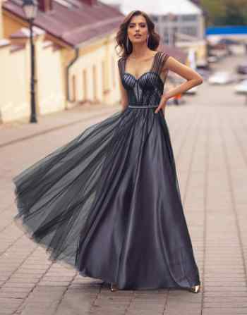 Fancy long gown with geometric designs and bustier bodice