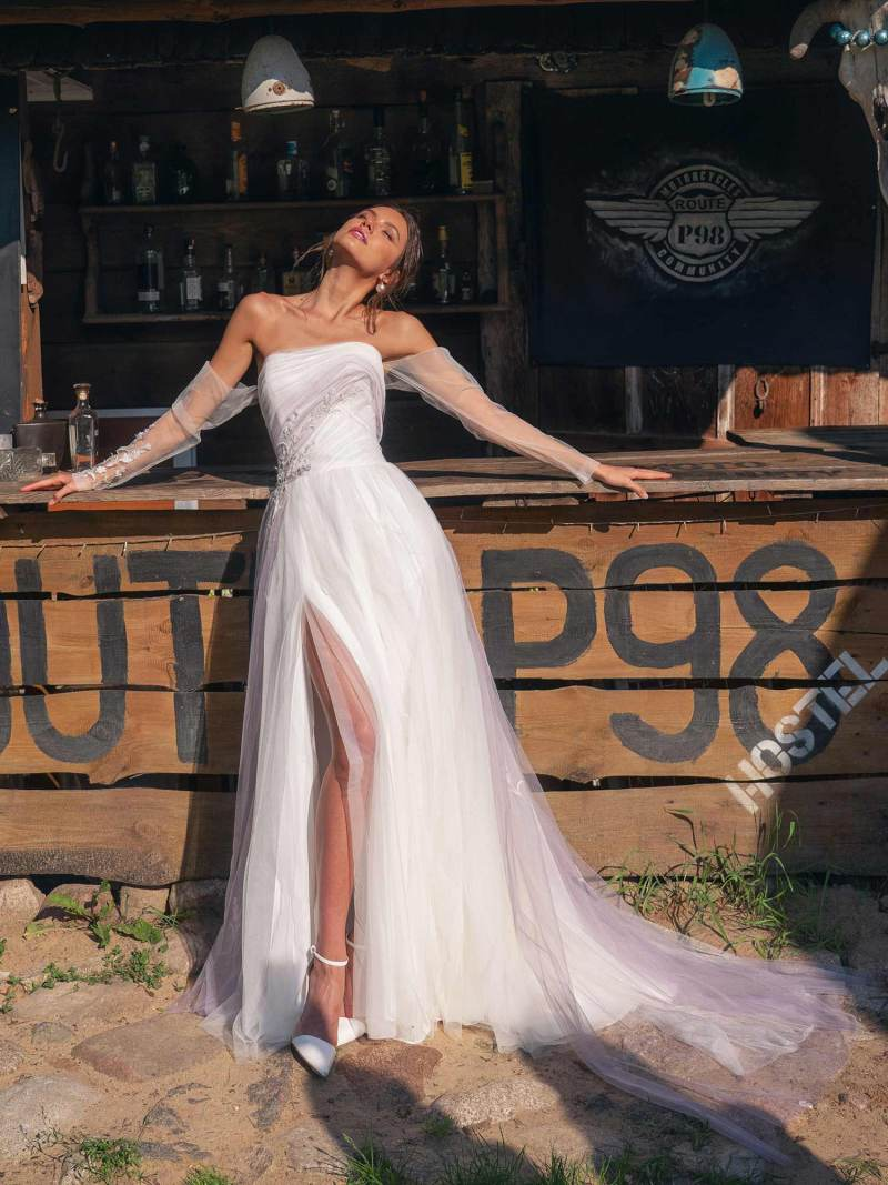 Wedding dress with slit and off-the-shoulder sleeves