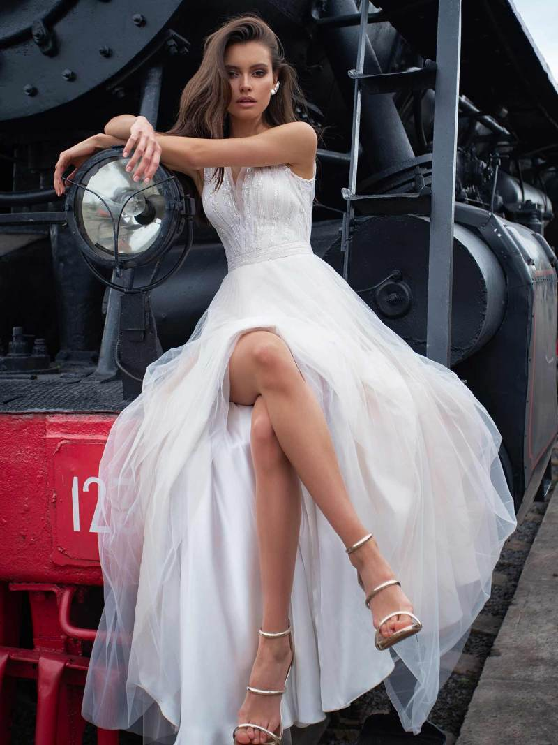 A-line bridal gown with a plunging neckline