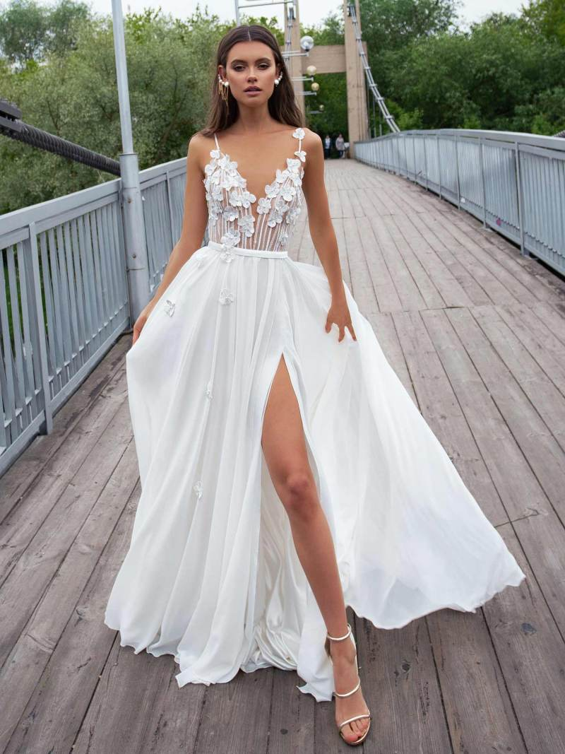 Sheath wedding gown with spaghetti straps and floral embroidery