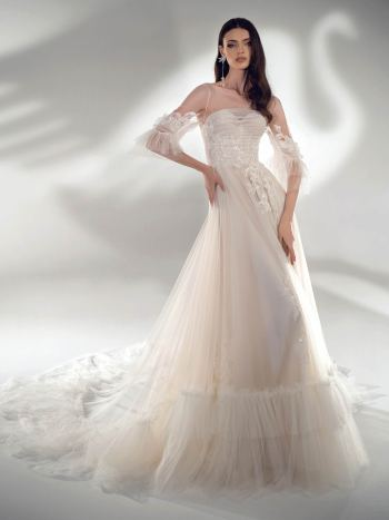 Three-quarter sleeve A-line wedding dress with ruffles