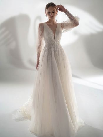 Puff sleeve A-line wedding dress with leaf embroidery