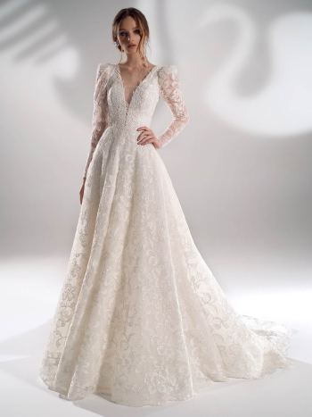 Sparkling lace ball gown wedding dress with long sleeves