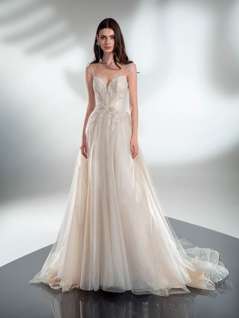 A-line wedding dress with beaded embroidery